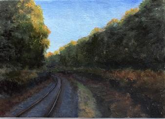 John Britton - Train Trestle in Montauk, NY Oil on Panel, Paintings