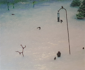 Jonathan Mann - Wild Life Refugees Acrylic on Canvas, Paintings