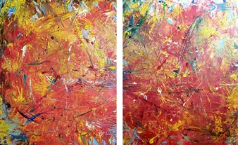Dante Biss-Grayson - War Trauma 12, diptych Mixed Media on Canvas, Mixed Media