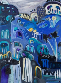 Jayne Rolinson - Midnight Blues Acrylic & Ink on Canvas, Paintings