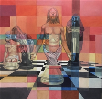 Don Kosta - Schachmatte Acrylic on Canvas, Paintings