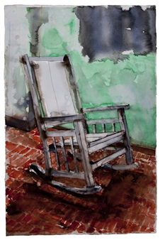 Fernando Ekman - Habana Chair Watercolor on Paper, Paintings