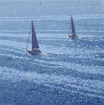 Gordon Hunt - Into the Blue Acrylic on Canvas, Paintings