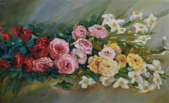Corinne Garese - Jeté de Fleurs Oil on Canvas, Paintings
