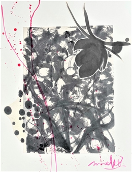 Mieko Nakamura - Heart Flower Sumi 224 Collage & Ink on Paper, Mixed Media