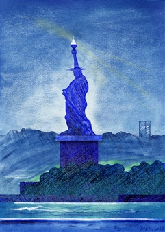 Michael Victor ▪ MVR - The Landscape of 21C Lady Liberty_ And A Spectrum of Blues (triptych) Hard Pastels with Multi-media, Prints