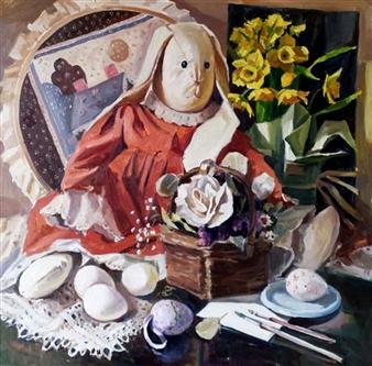 Nadia Jampolski - Easter Bunny Oil on Canvas, Paintings