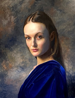 John Britton - Rebecca in Blue Oil on Canvas, Paintings