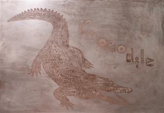 Yoshiki Uchida - Crocodile Mixed Media & Metal on Board, Mixed Media