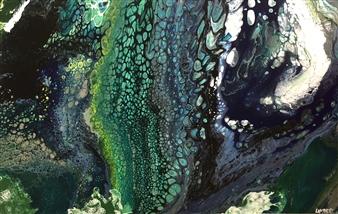 Tina Louise Lambert - Seismic Aqua Acrylic & Resin on Wood, Mixed Media