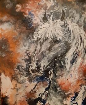 Anders Ekelund - Gray Horse Acrylic & Oil on Canvas, Paintings
