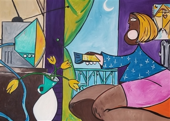 Leandro Miguel Cruz - Woman in La Sala Oil on Canvas, Paintings