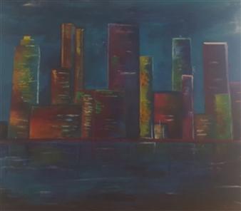 Konka - City Line Acrylic on Canvas, Paintings