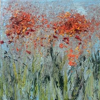 Jodi DeCrenza - Orange Burst Oil on Wood, Paintings