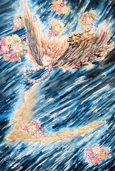 Xiao daCunha - Night Flight Watercolor & Gouache on Paper, Paintings