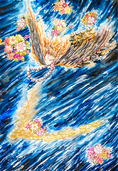 Xiao daCunha - Night Flight Watercolor on Paper, Paintings