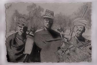 Kalenga - 3 Wisemen Pencil on Paper, Drawings