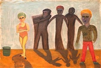 Merab Kardava - Cygan Sad Family and Love Oil on Canvas, Paintings