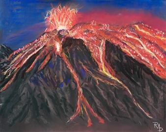 Raul Mariaca Dalence - Eruption of Mauna Loa Pastel on Canvas, Paintings