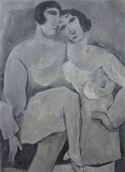 Khac Cuong Le - Two Women 1 Oil and Gouache on Canvas, Paintings
