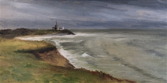 John Britton - Montauk Lighthouse Under Storm Clouds Oil on Canvas, Paintings