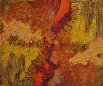 Crazy Rah Art aka Sarah Stott - Granny's Rug Mixed Media on Canvas, Mixed Media