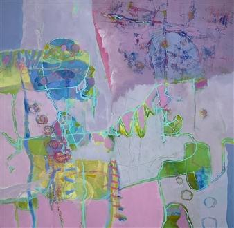 Jenny Shaw - The Yellows Make Me Happy Mixed Media on Canvas, Mixed Media