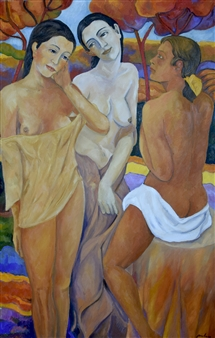 Stefano Puleo - Three Figures in the Landscape Oil on Linen, Paintings