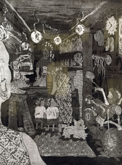 Satoco Yamamoto - Shoe Shining Etching on Arnhem1618 Paper, Prints