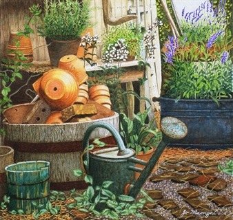 Josie Mengai - Flowerpots Digital Print on Aluminum, Prints