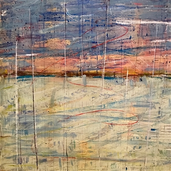 Fleur Cowgill - Beyond Lefkada: Masts Oil & Mixed Media on Canvas, Mixed Media