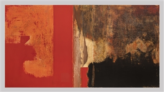 Michael Fridman - Behind the red wall / Displaced life Oil & Mixed Media on Board, Mixed Media