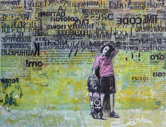 db Waterman - Just Because Acrylic & Collage on Paper, Mixed Media
