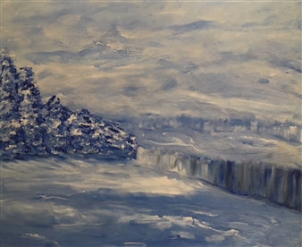 KVK Kanas - Winter Acrylic & Gouache on Canvas, Paintings