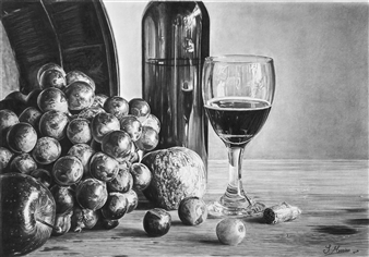 Samantha Messias - Fruitful Pleasures Pencil & Charcoal, Drawings