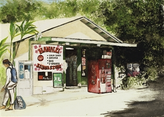 Nancy Holleran - Hanalei Liquor Store Watercolor on Hand Made Paper, Paintings