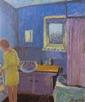 Jenny Ahmad - Blue Laundry and woman in a Yellow Dress Oil on Canvas, Paintings