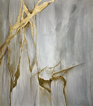 Graciela Garza - Golden Mixed Media & Encaustic on Canvas, Mixed Media