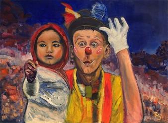 Raul Mariaca Dalence - Le clown Oil on Canvas, Paintings