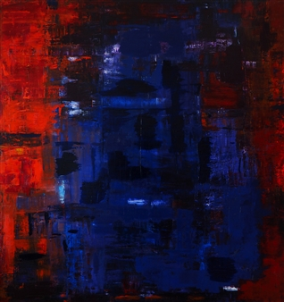 Catherine Timotei - Reflection no 6 - Blue on Red Oil on Canvas, Paintings