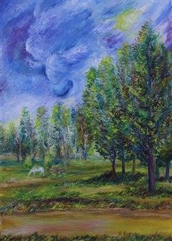 Oleg Kirnos - Evening Prayer Oil on Cardboard, Paintings