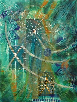 Christine Stettner - Positive Energy Acrylic & Mixed Media on Canvas, Mixed Media