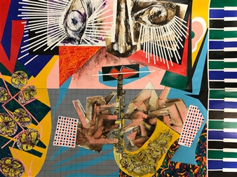 Michael Dolen - Circus Performer: Solo Performance 185V Colored Lithograph and Mixed Media on Paper, Mixed Media