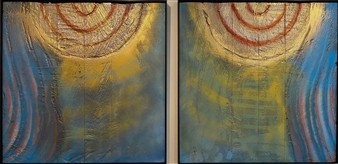 David Lionheart - Jane Says, diptych Mixed Media on Industrial Substrate, Mixed Media