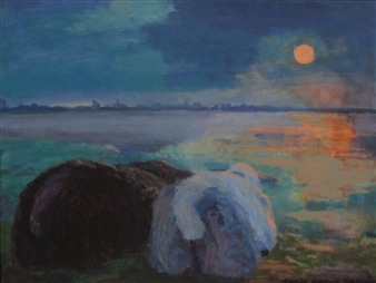 Margit Enggaard Poulsen - Sheep On Northern Dike, Fanoe Acrylic on Canvas, Paintings