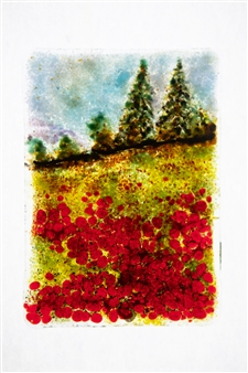Manolo Ferrer - Poppies Glass Painting, Other Category