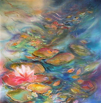 Caroline Degroiselle - Water Lily Dance of a Dreaming Musician Acrylic on Canvas, Paintings