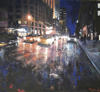 Emanuele Biagioni - Notturno Acrylic on Canvas, Paintings