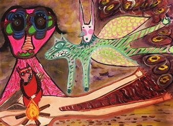 Paula Sayago Lundin - Inside Dust Acrylic on Canvas, Paintings