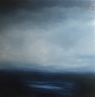 Ifat Shatzky - Big Blue Oil on Wood, Paintings